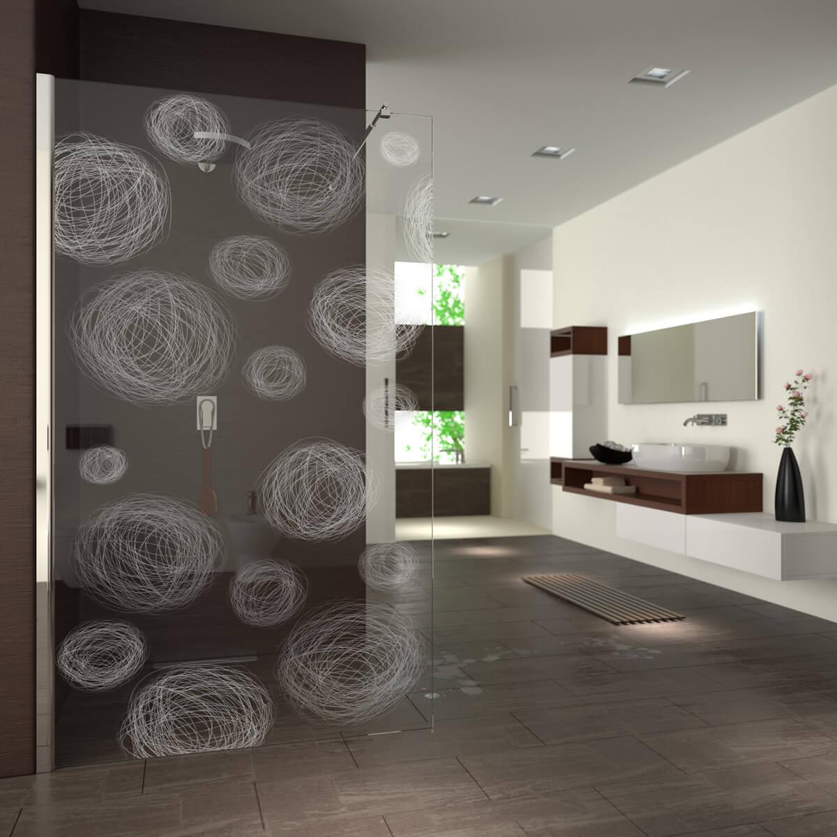 walk in dusche gelasert mit motiv gezeichnete kugeln 989708665. Black Bedroom Furniture Sets. Home Design Ideas
