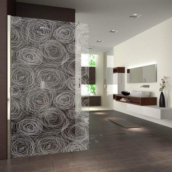 Produktbild 2 Walk In Dusche gelasert mit Motiv Kreise by Lionidas - Ein Wirrwarr aus gezeichneten Kreisen überzieht die gesamte gelaserte Walk-In Dusche Kreise.