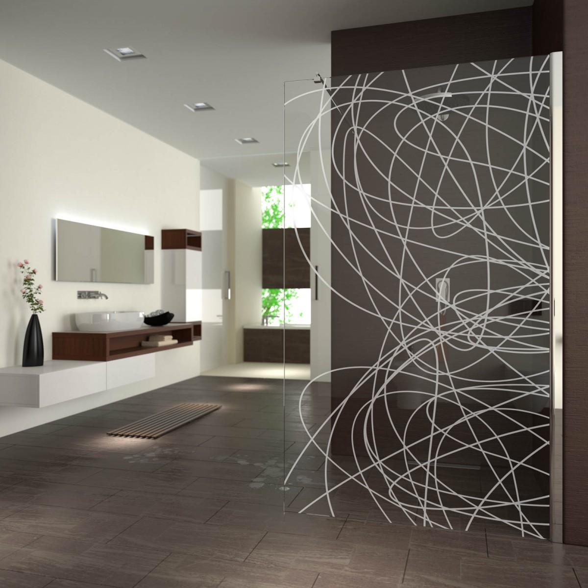walk in dusche gelasert mit motiv lines 989708690. Black Bedroom Furniture Sets. Home Design Ideas