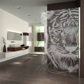 Walk In Dusche gelasert mit Motiv Little Tiger