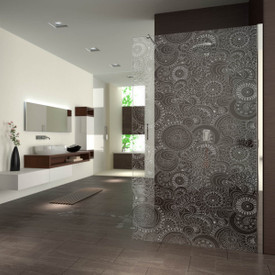 Walk In Dusche gelasert mit Motiv Retro flowers