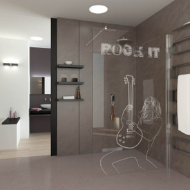 Walk In Dusche gelasert mit Motiv Rock it