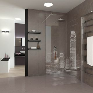 Walk In Dusche gelasert mit Motiv Skyline II (989708720) ab 649,00 EUR von Lionidas auf glastüren-shop.com