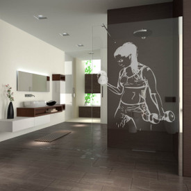 Walk In Dusche gelasert mit Motiv Strong Woman