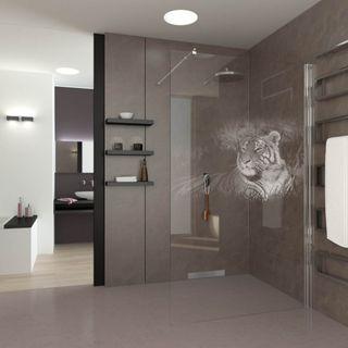 Walk In Dusche gelasert mit Motiv Tiger (989708736) ab 579,00 EUR von Lionidas auf glastüren-shop.com