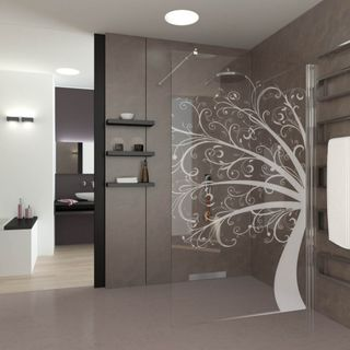 Walk In Dusche gelasert mit Motiv Tree of Art – Bild 1