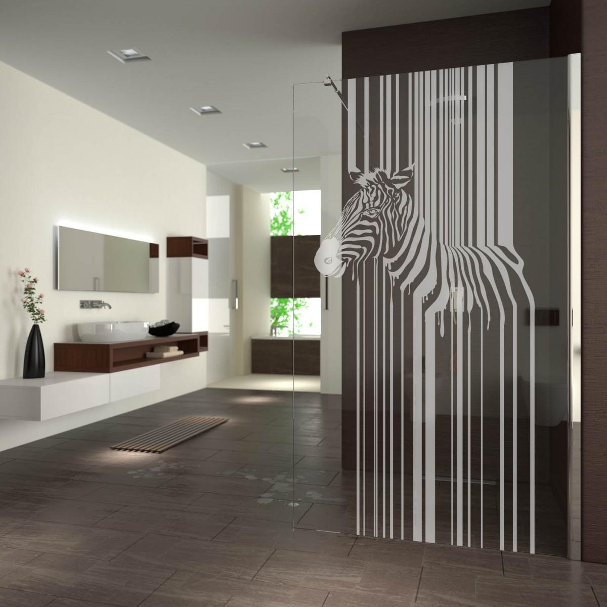 Walk In Dusche gelasert mit Motiv Zebra Barcode