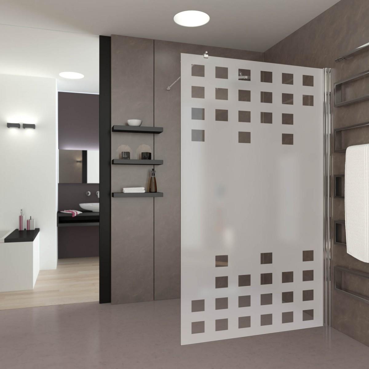 walk in dusche satiniert mit motiv bin r binaer 989708761. Black Bedroom Furniture Sets. Home Design Ideas