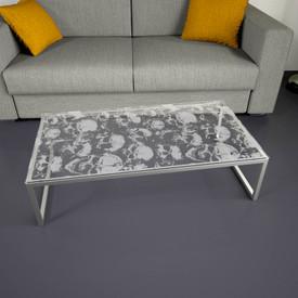 Glastischplatte gelasert mit Motiv - Skull Table