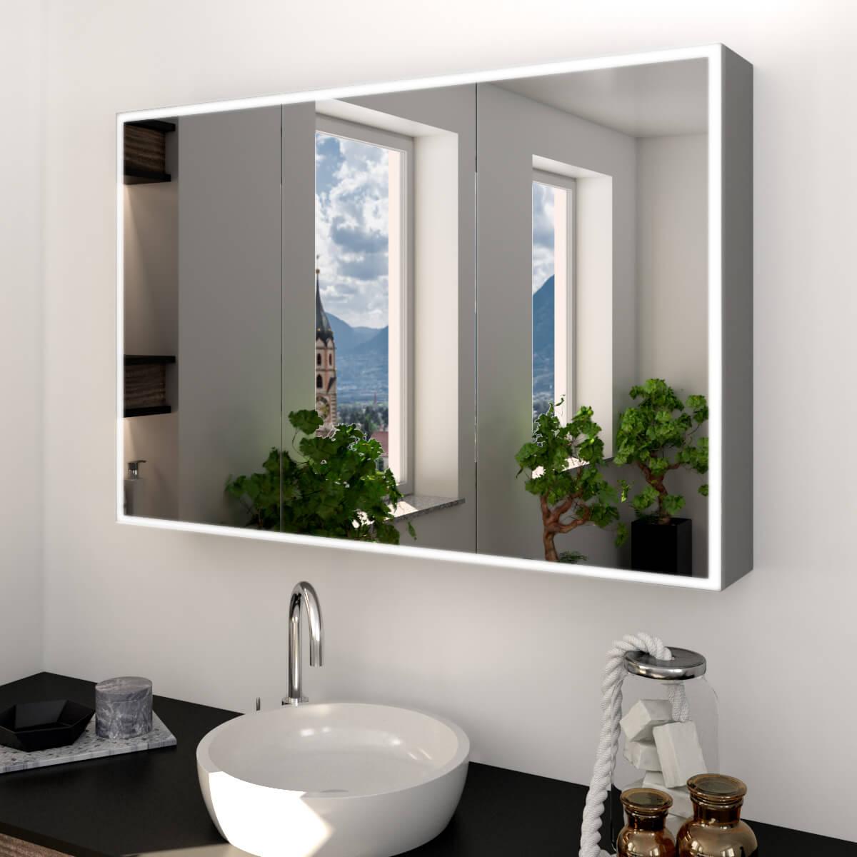 Alu-Spiegelschrank nach Maß mit LED Beleuchtung - Metal Credo