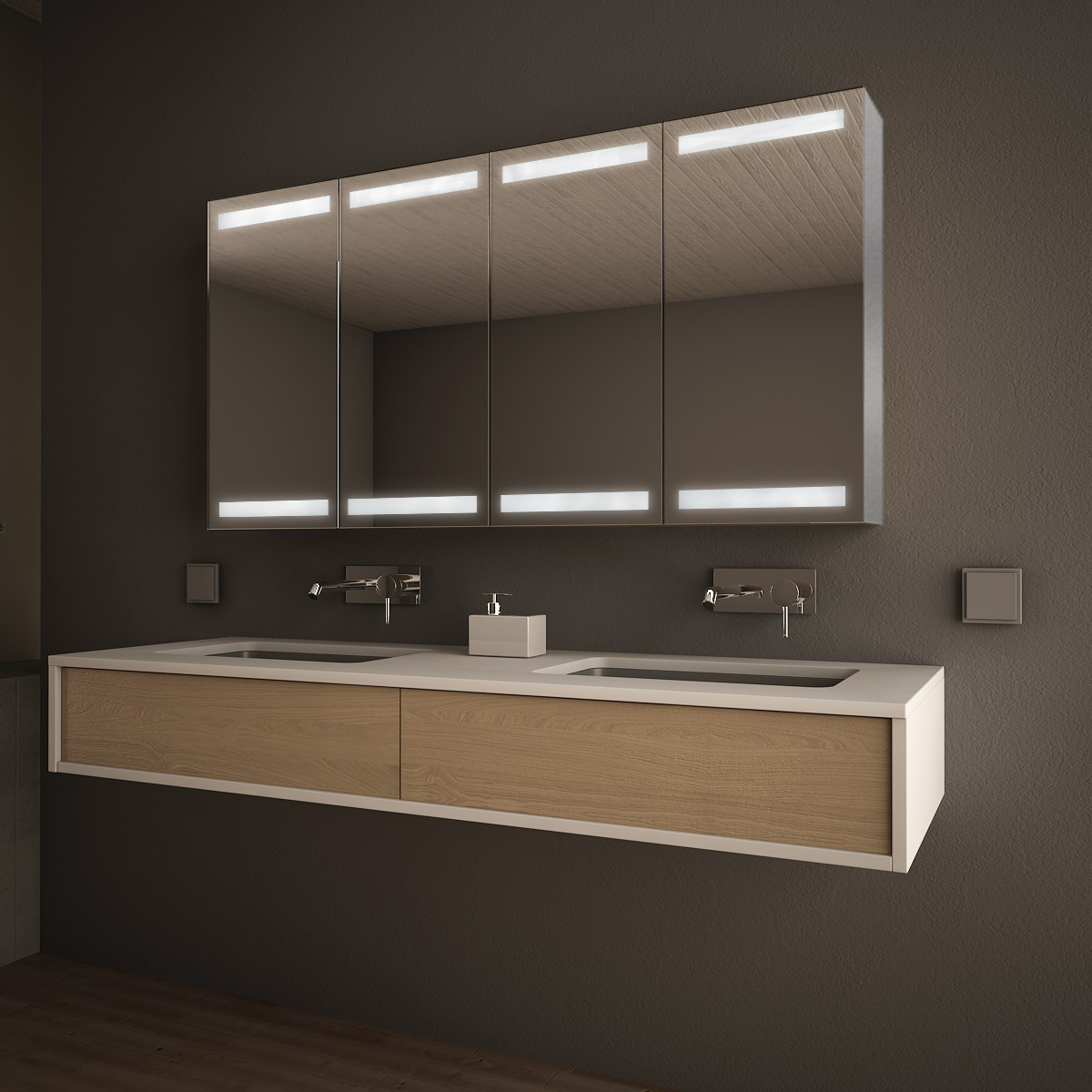 spiegelschrank aluminium mit led beleuchtung fargo 989709664