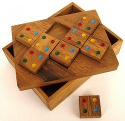 Farbenpuzzle - Domino-Puzzle - Legespiel - Denkspiel - Knobelspiel - Geduldspiel - Logikspiel aus Holz