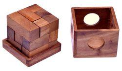 Soma Würfel Gr. S - 3D Puzzle - Lernspiel - Denkspiel - Knobelspiel - Geduldspiel - Logikspiel im Holzkasten