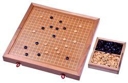 Go - Gobang - Spiel der Götter - Strategiespiel - Brettspiel aus Holz mit weissen Linien - 2. Wahl mit optischen Mängeln