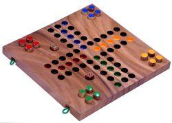 Ludo Gr. L - Würfelspiel - Gesellschaftsspiel - Familienspiel aus Holz mit zusammenklappbarem Spielbrett - 2. Wahl mit kleinen optischen Mängeln