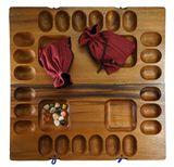 Kalaha für 2 bis 4 Spieler - Hus - Bao - Bohnenspiel - Muschelspiel - Edelsteinspiel - Steinchenspiel aus Samena-Holz