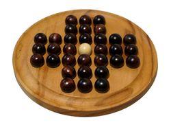 Solitär Gr. XL rund mit dunklen Kugeln - 26 cm Durchmesser - Solitaire - Denkspiel - Knobelspiel - Geduldspiel - Logikspiel aus Samena-Holz