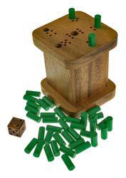 6 raus - sechs raus - Weg mit der sechs - warum immer ich - 6 weg - Würfelspiel in schöner Spielbox aus Holz - 2. Wahl mit optischen Mängeln