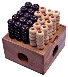 Vier in einer Reihe 3D 5x5 - 3D Bingo 5x5 - Raummühle - Viererreihe 3D - Strategiespiel - Denkspiel aus Holz - 2. Wahl mit optischen Mängeln