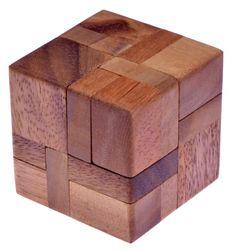 6 Pieces in a Cube - 3D Puzzle - Denkspiel - Knobelspiel - Geduldspiel - Logikspiel aus Holz - 2. Wahl