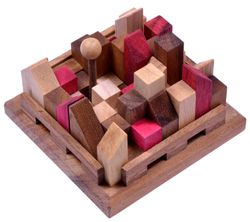 City - Stadt - 3D Puzzle - Denkspiel - Knobelspiel - Geduldspiel - Logikspiel aus Holz mit vielen Spielvarianten - 2. Wahl mit kleinen optischen Mängeln