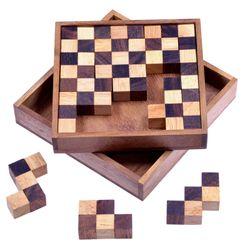 Schach Puzzle - Pentomino Puzzle - Lernspiel - Denkspiel - Knobelspiel - Logikspiel in Schachbrettmuster-Optik aus Holz - 2. Wahl mit optischen Mängeln