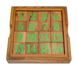 Slide 15 - Schiebespiel - Rechenspiel - Denkspiel - Knobelspiel - Geduldspiel - Logikspiel aus Holz mit grünen Zahlen