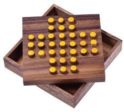 Solitär Gr. L - Solitaire - Steckspiel - Denkspiel - Knobelspiel - Geduldspiel - Logikspiel aus Holz - gelbe Stecker