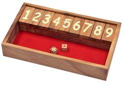 Jackpot - Shut the Box - Klappenspiel - Würfelspiel - Gesellschaftsspiel - Spielbox aus Holz