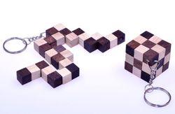 Schlangenwürfel 3 x 3 Schlüsselanhänger - 3 x 3 x 3 cm - Snake Cube - Würfel Schlange - 3D Puzzle - Denkspiel - Knobelspiel - Geduldspiel - Logikspiel aus Holz