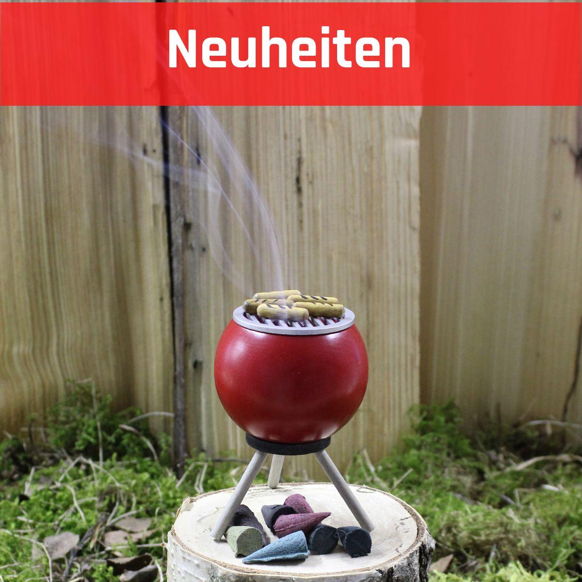 [Paket] Räuchergrill inkl. Crottendorfer Räucherkerzen Ruhe rot mit Bratwürsten 10 cm