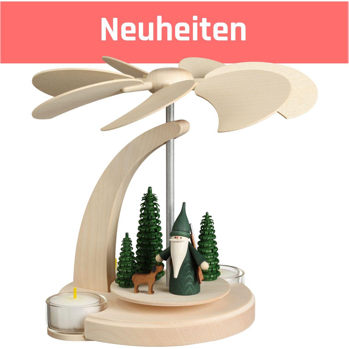 Moderne erzgebirgische Bogenpyramide aus Holz Höhe 18 cm