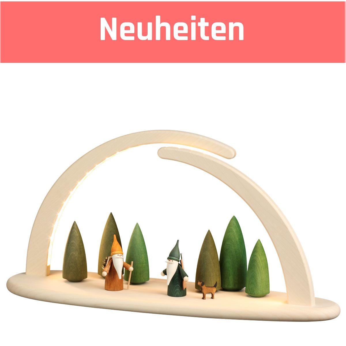 Eleganter Leuchterbogen Lichterbogen aus Holz natur Höhe 21 cm LED beleuchtet USB inklusive Netzstecker