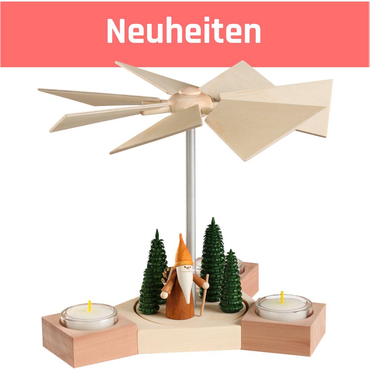 Moderne erzgebirgische Pyramide aus Holz Hexagonum Höhe 20 cm