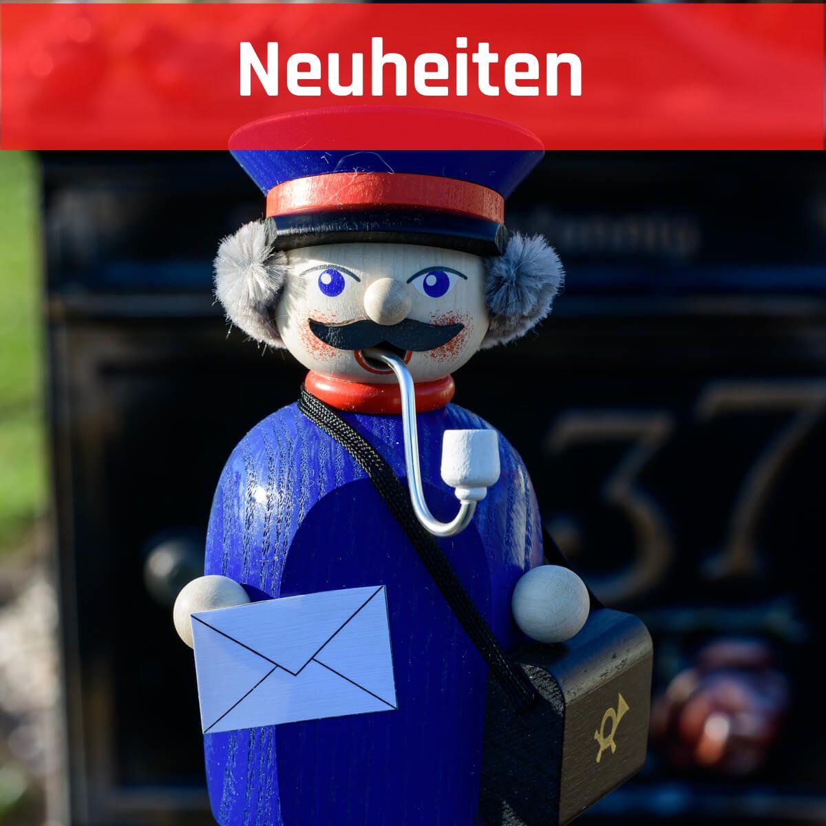 Holz Räuchermann Figur Erzgebirge Kleine Gesellen Briefträger 14 cm