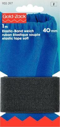 Prym 1m Elastic Band Gummiband weich 40 mm schwarz