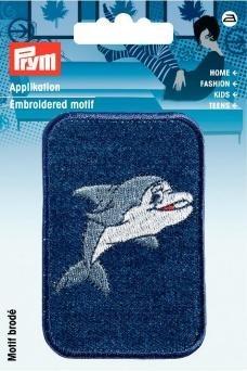 Applikation Patch Jeans rechteckig Delphin