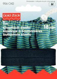 Prym 1m Knopfloch Elastic glattes Band Gummiband 18 mm schwarz
