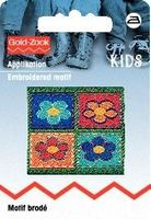 Applikation Patch 4 Blumen eckig 001