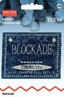 Applikation Jeanslabel blau rechteckig Blockade 001