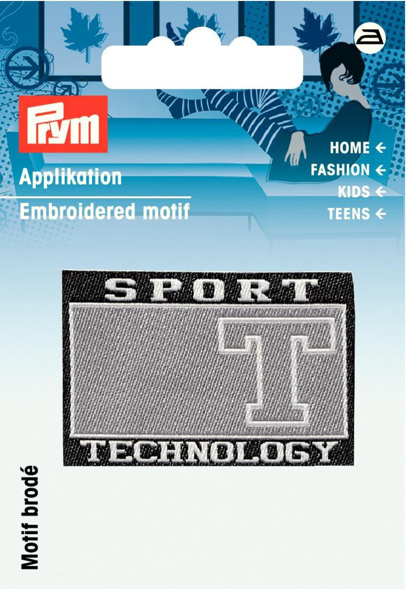 Applikation Label Sport schwarz/grau