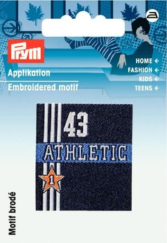 Applikation Label Athletic blau