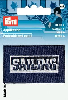 Applikation Label Sailing blau