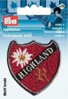 Applikation Patch HIGHLAND mit Edelweiß rot
