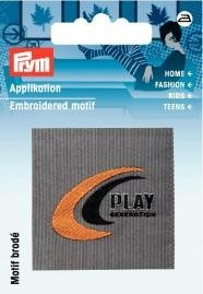 Applikation Label PLAY grau/orange