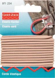 Prym 3m Elastic Kordel Band Gummiband 2,5 mm beige