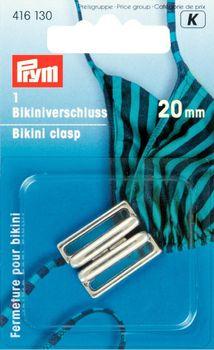 Bikiniverschluss Metall silberfarbig 20 mm