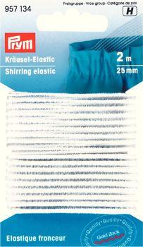 Kräusel-Elastic 25 mm weiß