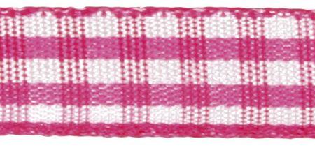 Rayher HobbyKunst Karoband 9,5mm breit, 10m lang pink-weiß kariert