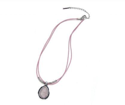 Halskette mit Rosenquarz Anhänger